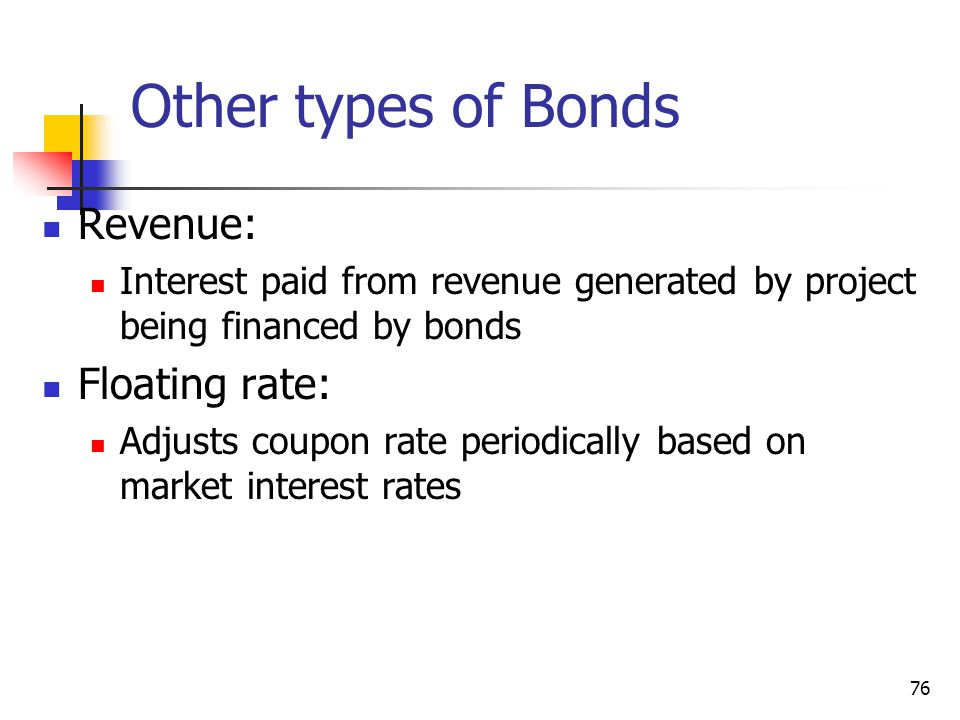 Other types of Bonds Revenue: Floating rate: