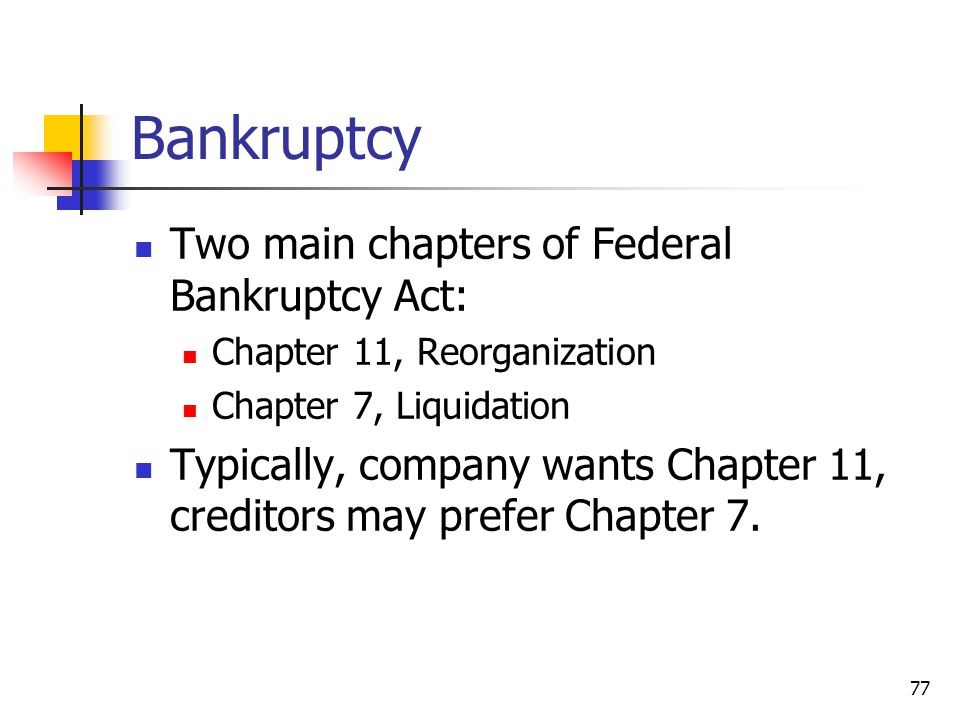 Bankruptcy Two main chapters of Federal Bankruptcy Act: