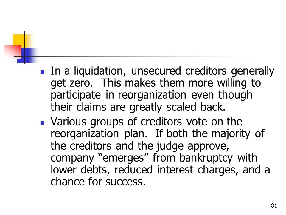 In a liquidation, unsecured creditors generally get zero