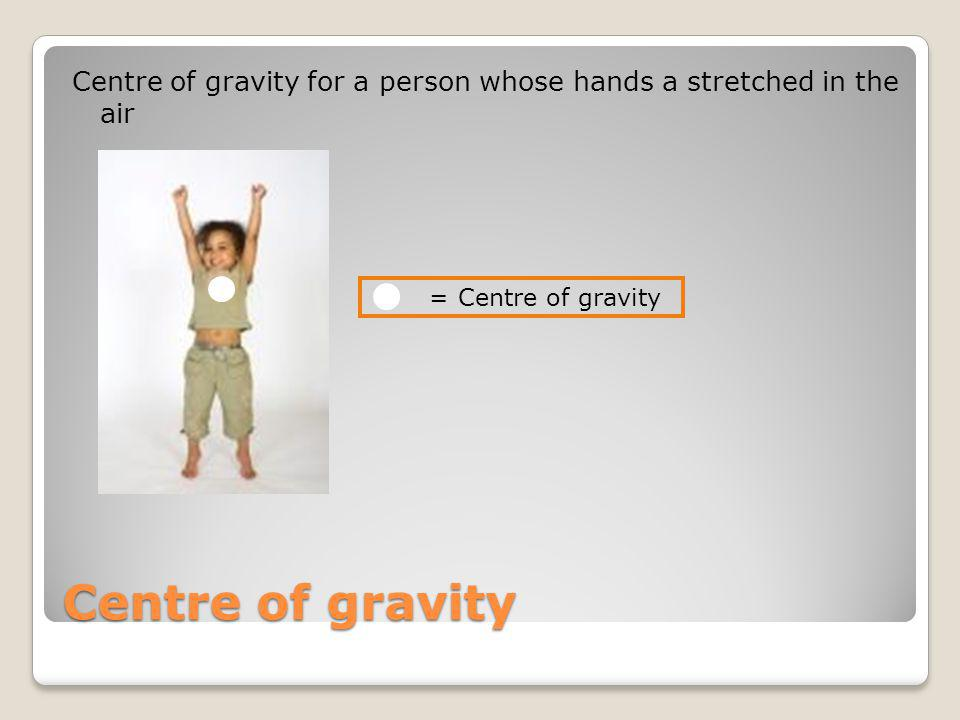 Centre of gravity for a person whose hands a stretched in the air