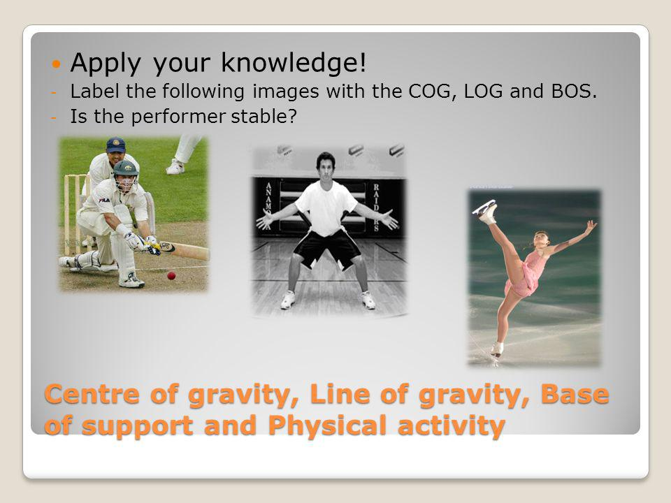 Apply your knowledge! Label the following images with the COG, LOG and BOS. Is the performer stable