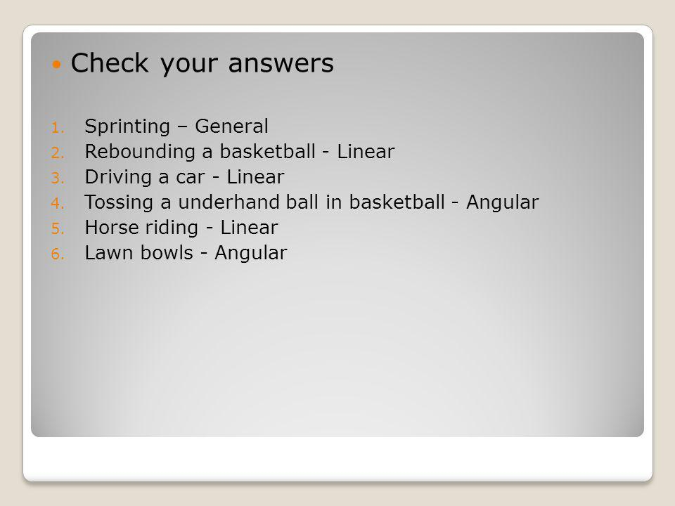 Check your answers Sprinting – General