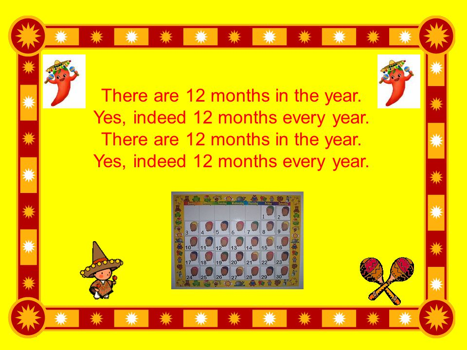 There are 12 months in the year. Yes, indeed 12 months every year