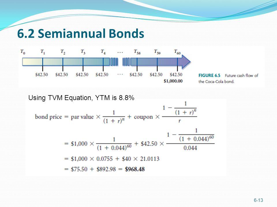 6.2 Semiannual Bonds Using TVM Equation, YTM is 8.8%