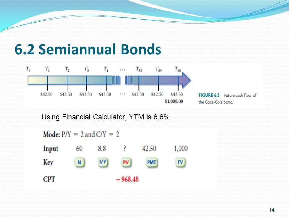 6.2 Semiannual Bonds Using Financial Calculator, YTM is 8.8%