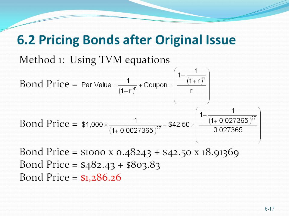 6.2 Pricing Bonds after Original Issue