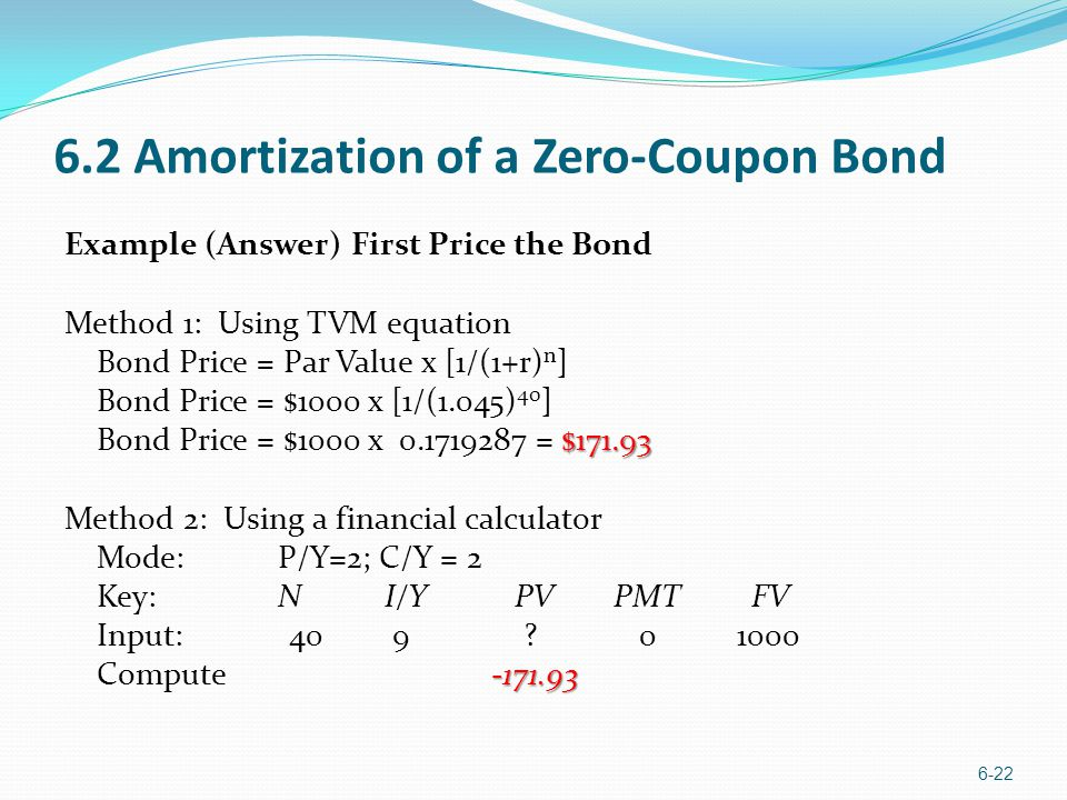 6.2 Amortization of a Zero-Coupon Bond