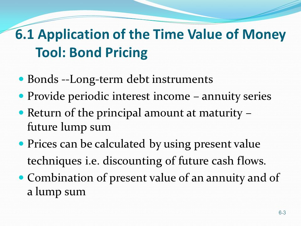6.1 Application of the Time Value of Money Tool: Bond Pricing