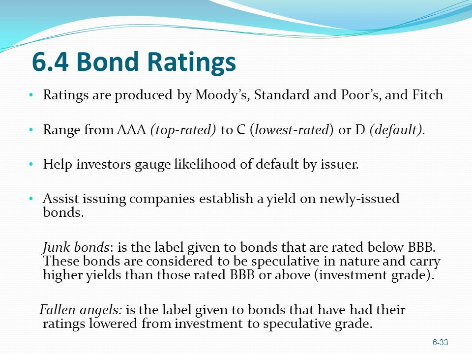 6.4 Bond Ratings Ratings are produced by Moody's, Standard and Poor's, and Fitch. Range from AAA (top-rated) to C (lowest-rated) or D (default).