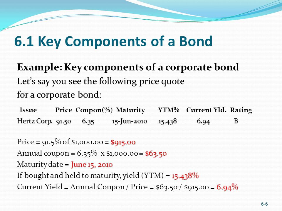 6.1 Key Components of a Bond