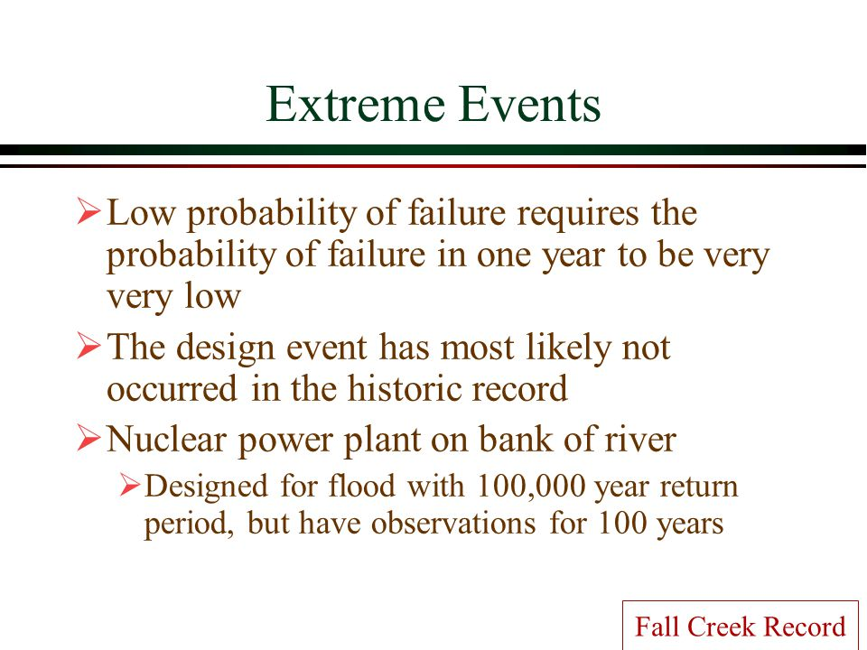 Extreme Events Low probability of failure requires the probability of failure in one year to be very very low.