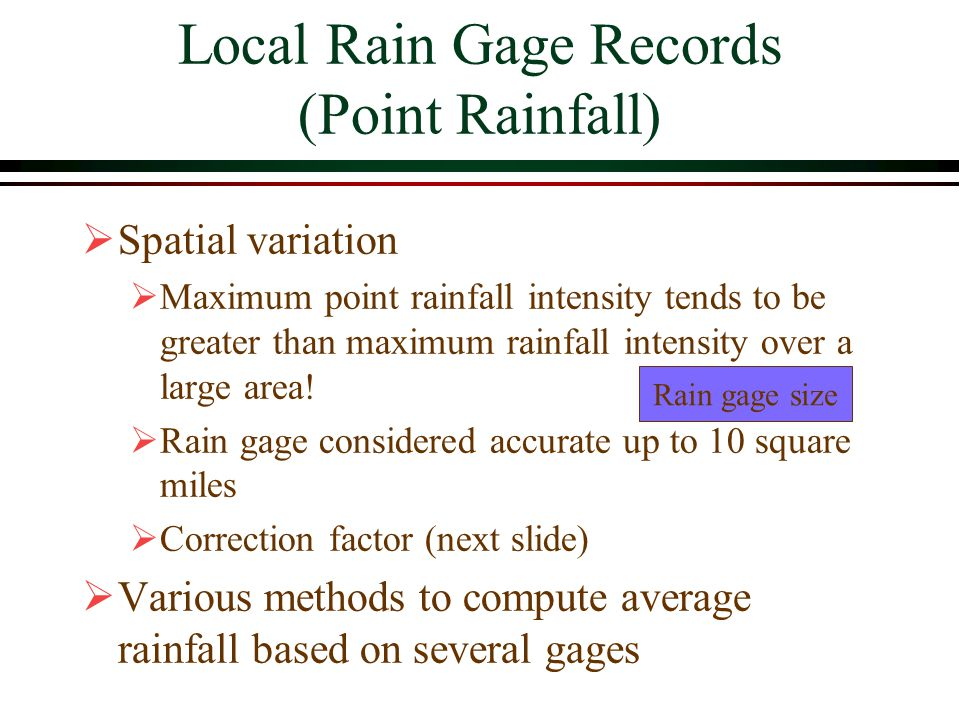 Local Rain Gage Records (Point Rainfall)