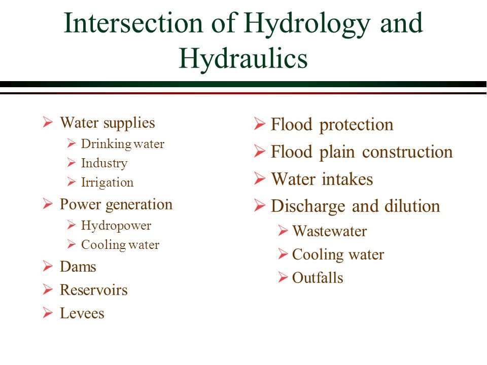 Intersection of Hydrology and Hydraulics