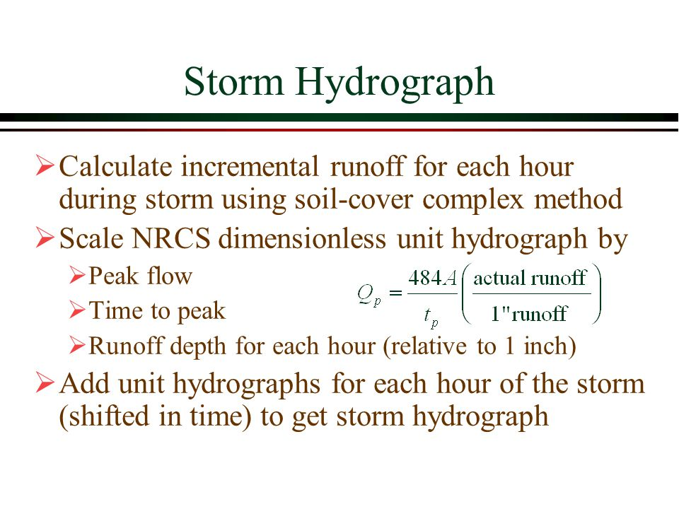 Storm Hydrograph Calculate incremental runoff for each hour during storm using soil-cover complex method.