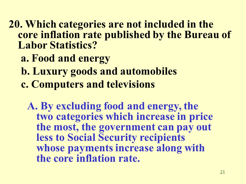 20. Which categories are not included in the core inflation rate published by the Bureau of Labor Statistics