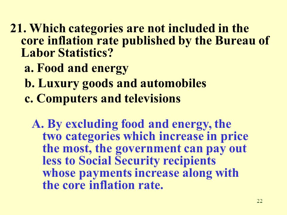 21. Which categories are not included in the core inflation rate published by the Bureau of Labor Statistics