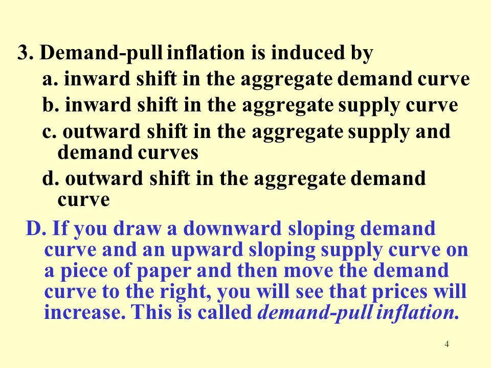 3. Demand-pull inflation is induced by