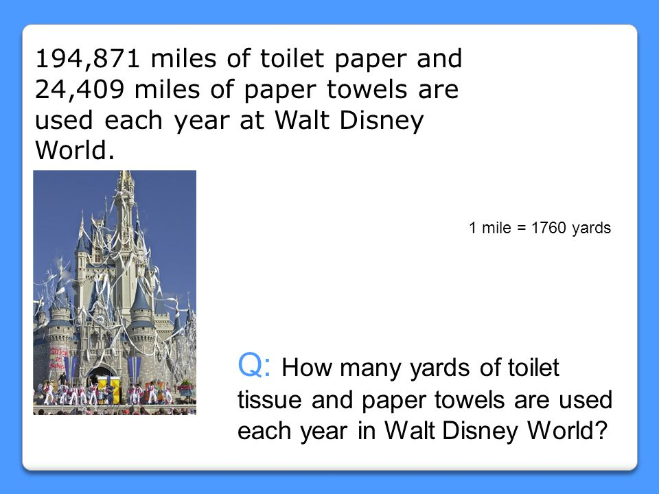 194,871 miles of toilet paper and 24,409 miles of paper towels are used each year at Walt Disney World.