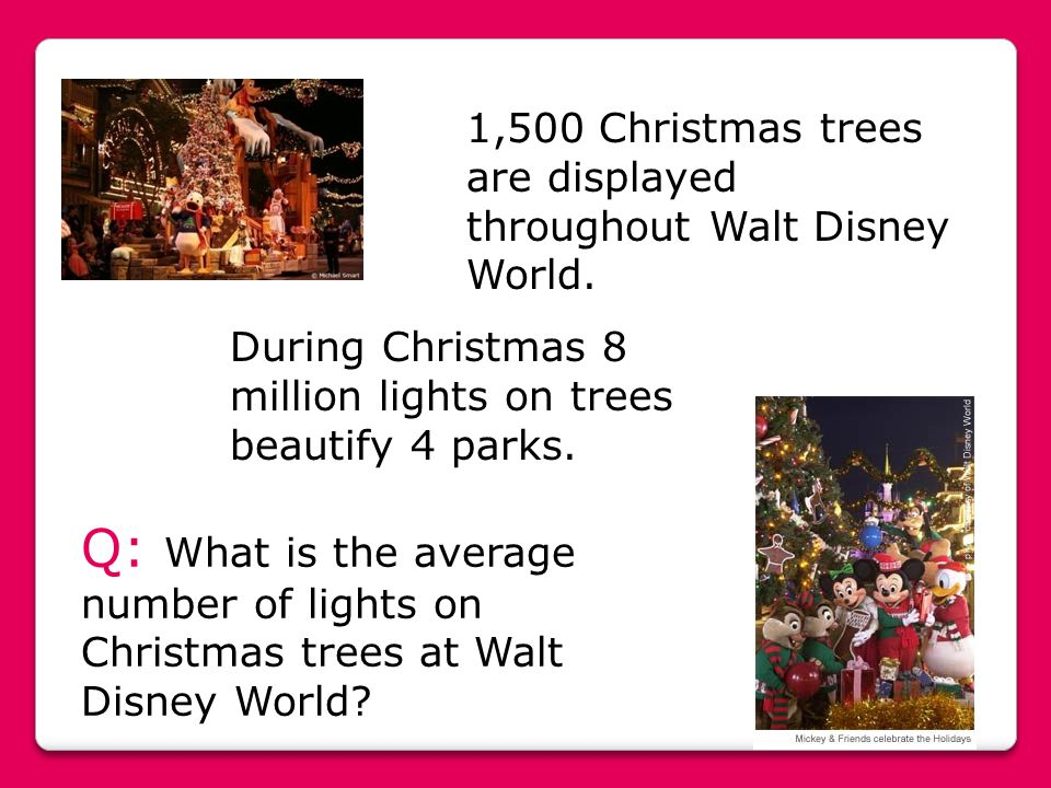 1,500 Christmas trees are displayed throughout Walt Disney World.