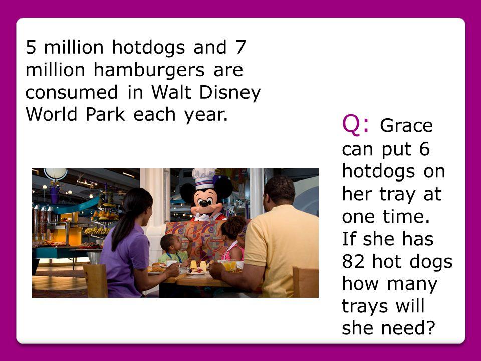 5 million hotdogs and 7 million hamburgers are consumed in Walt Disney World Park each year.