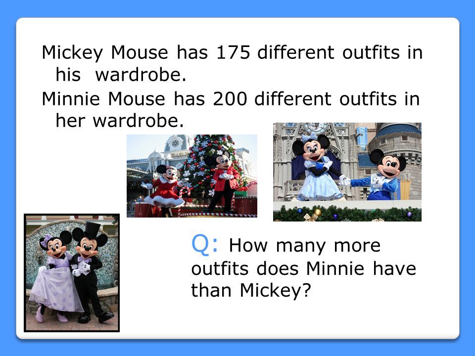 Q: How many more outfits does Minnie have than Mickey
