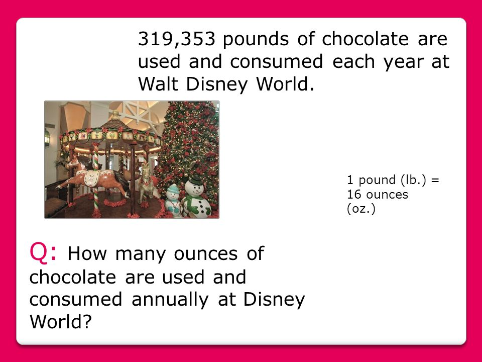 319,353 pounds of chocolate are used and consumed each year at Walt Disney World.