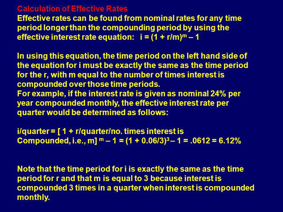 Calculation of Effective Rates