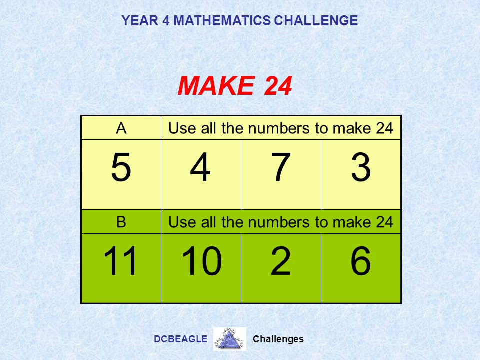 Use all the numbers to make 24