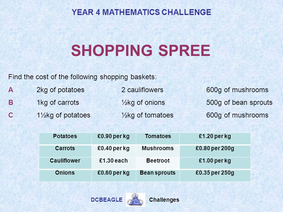 SHOPPING SPREE Find the cost of the following shopping baskets: