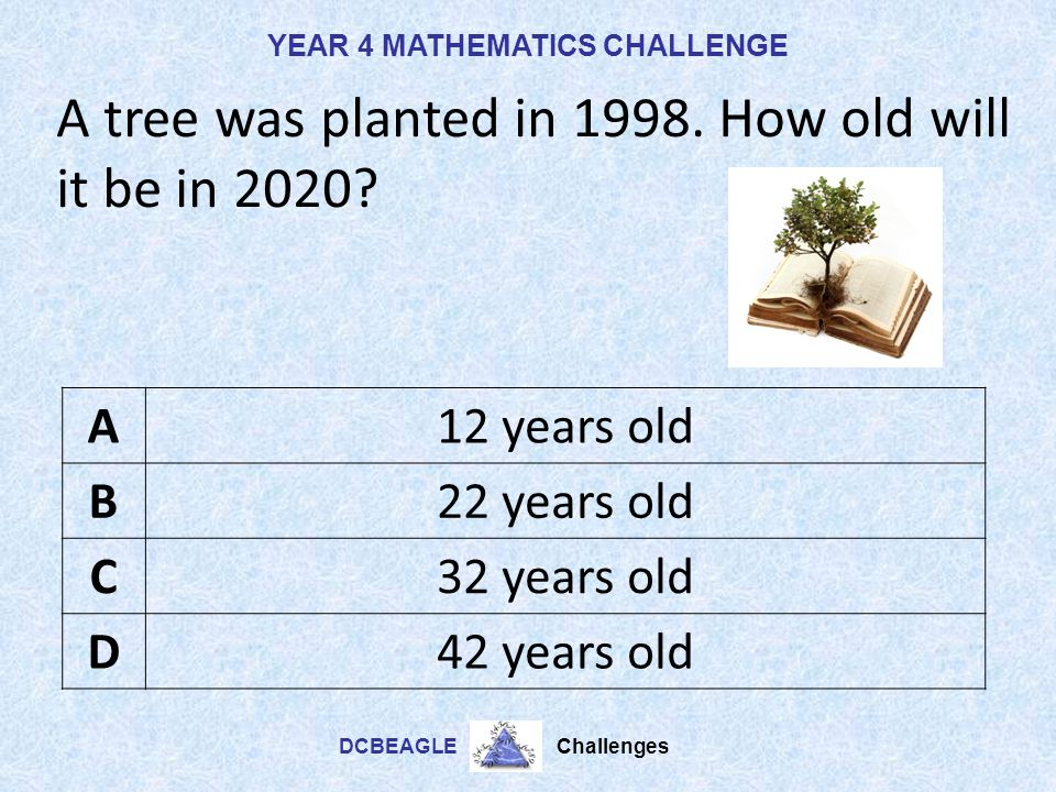 A tree was planted in 1998. How old will it be in 2020