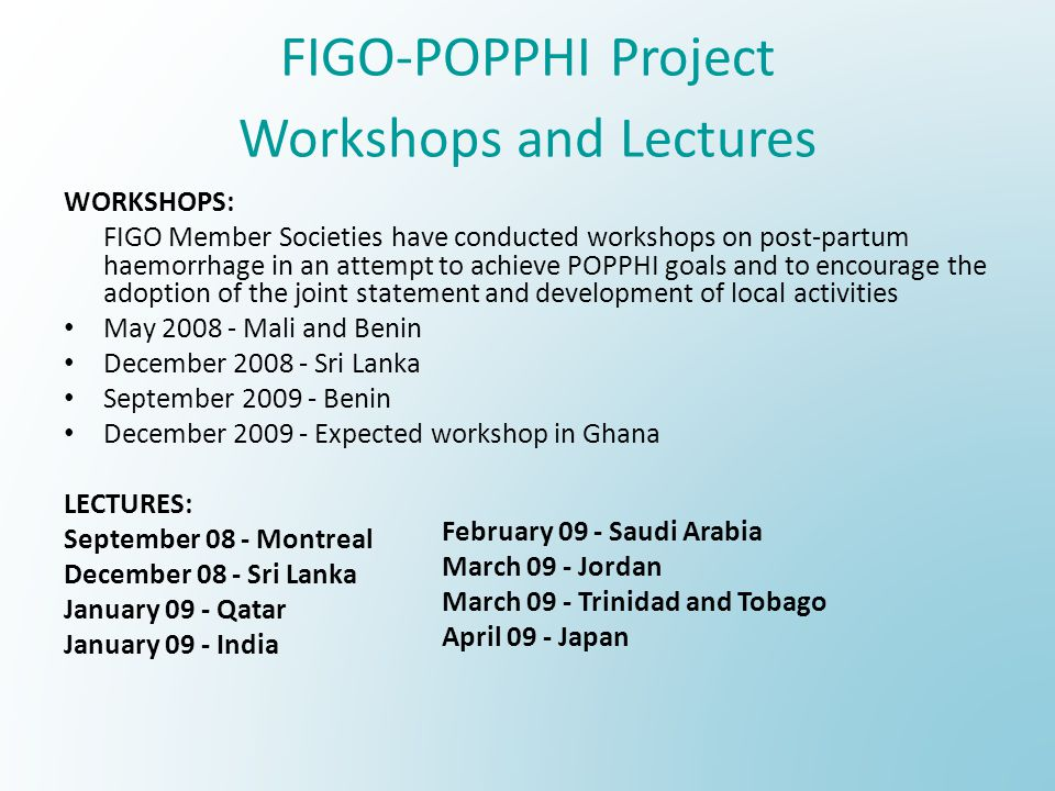 FIGO-POPPHI Project Workshops and Lectures