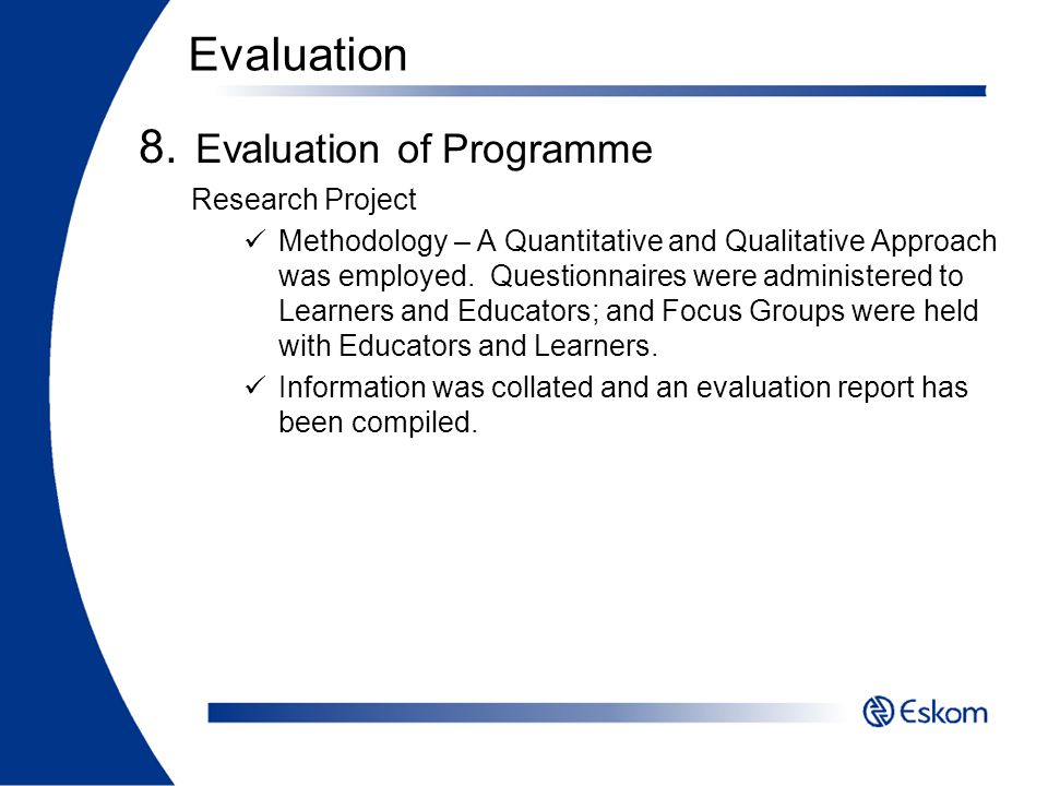 Evaluation of Programme