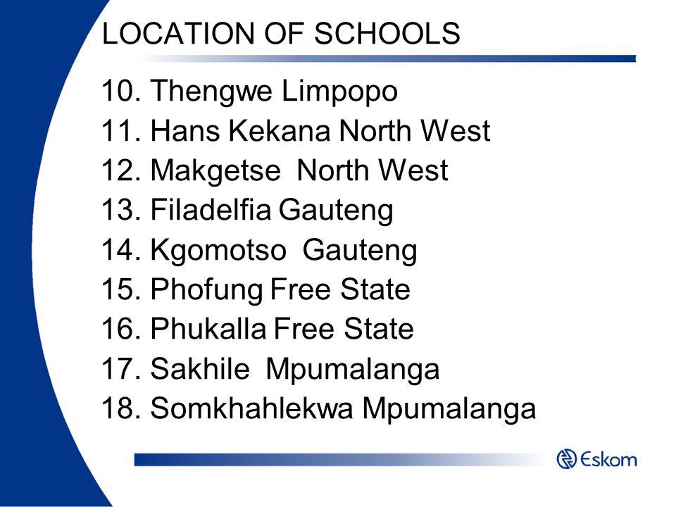 LOCATION OF SCHOOLS 10. Thengwe Limpopo. 11. Hans Kekana North West. 12. Makgetse North West. 13. Filadelfia Gauteng.