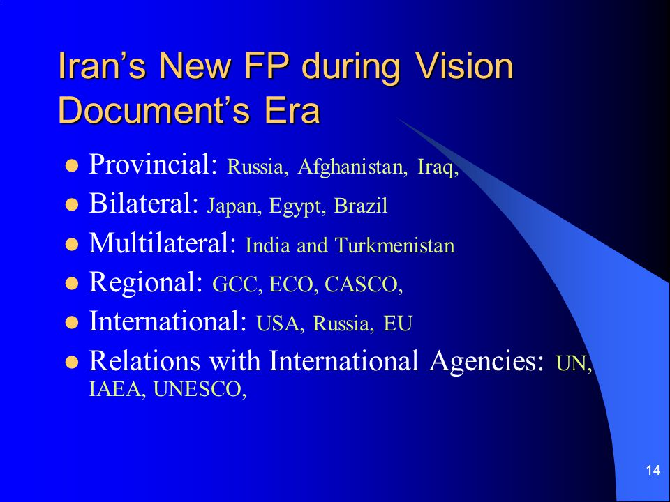 Iran's New FP during Vision Document's Era