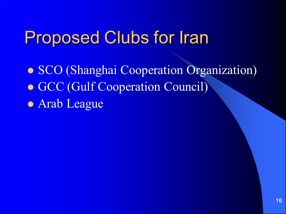 Proposed Clubs for Iran