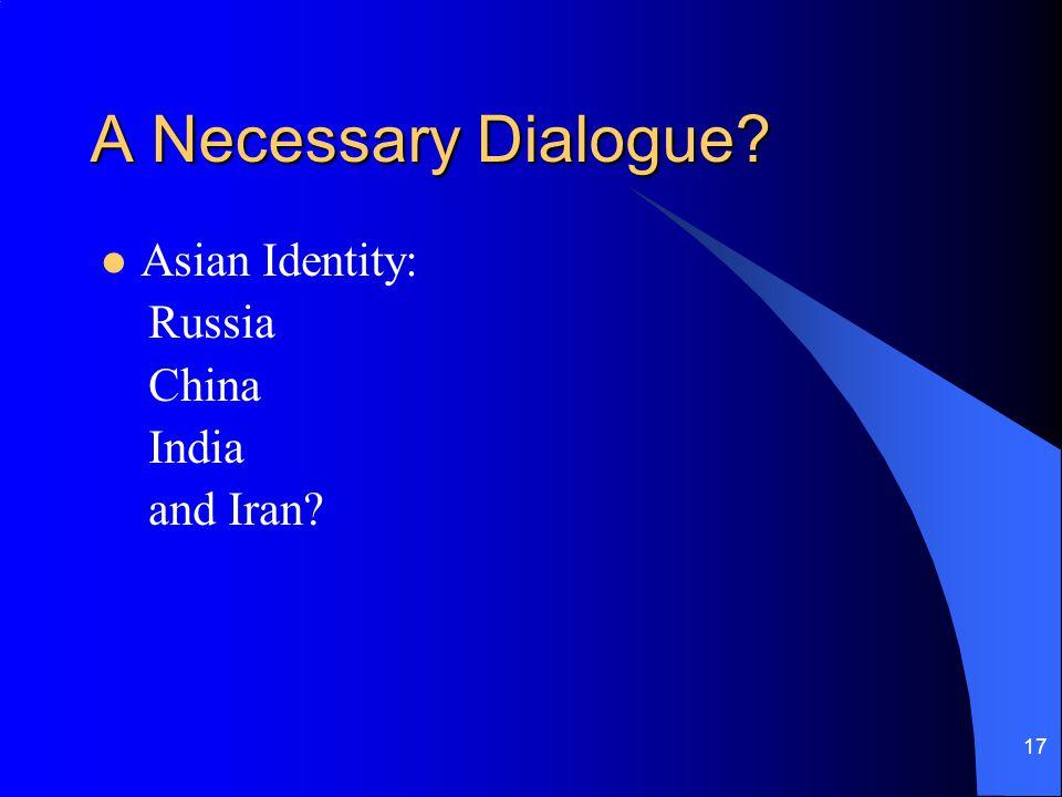 A Necessary Dialogue Asian Identity: Russia China India and Iran