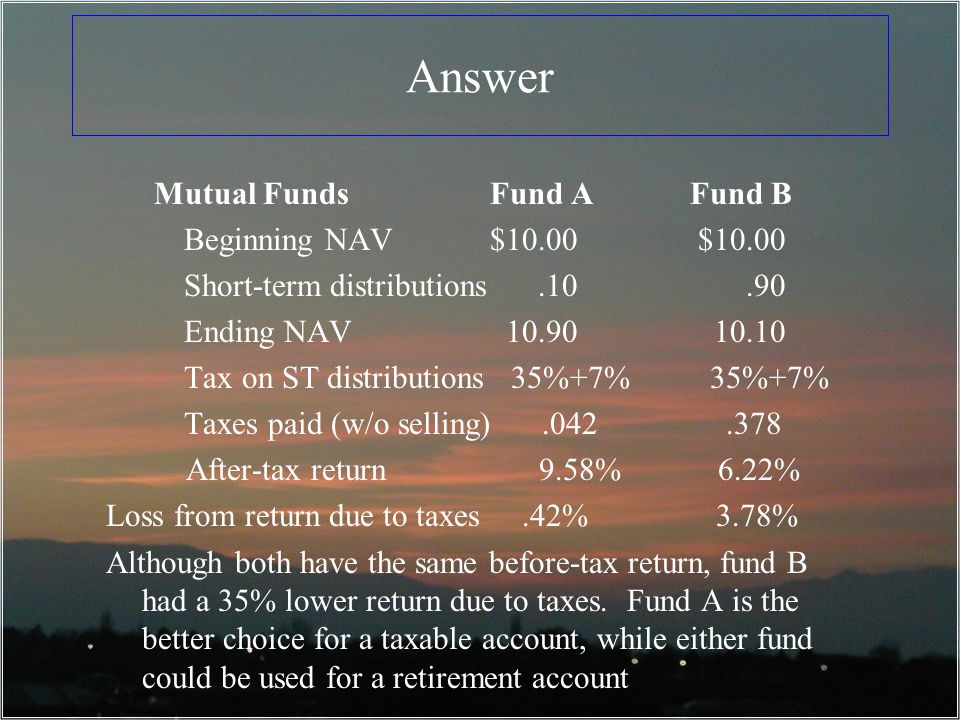 Answer Mutual Funds Fund A Fund B Beginning NAV $10.00 $10.00