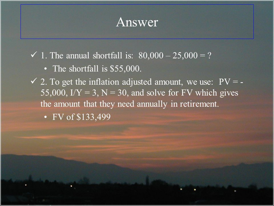 Answer 1. The annual shortfall is: 80,000 – 25,000 =