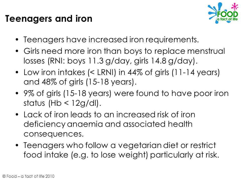 Teenagers and iron Teenagers have increased iron requirements.
