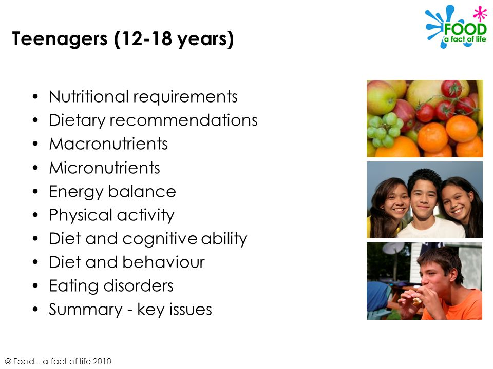 Teenagers (12-18 years) Nutritional requirements