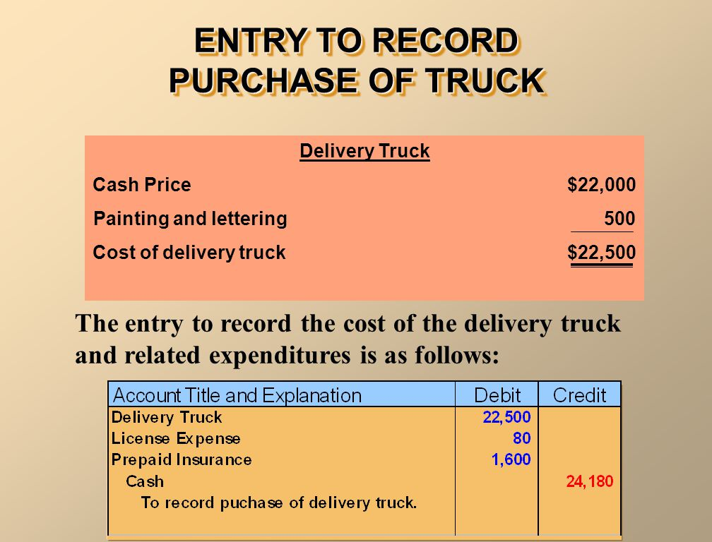 ENTRY TO RECORD PURCHASE OF TRUCK