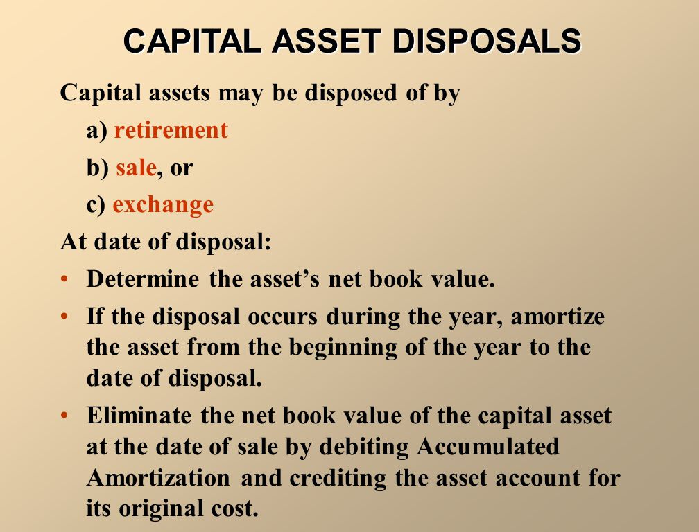 CAPITAL ASSET DISPOSALS