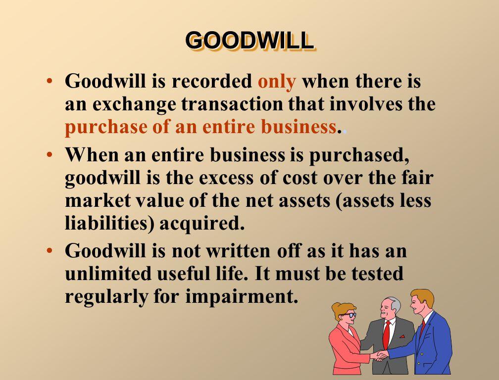 GOODWILL Goodwill is recorded only when there is an exchange transaction that involves the purchase of an entire business..