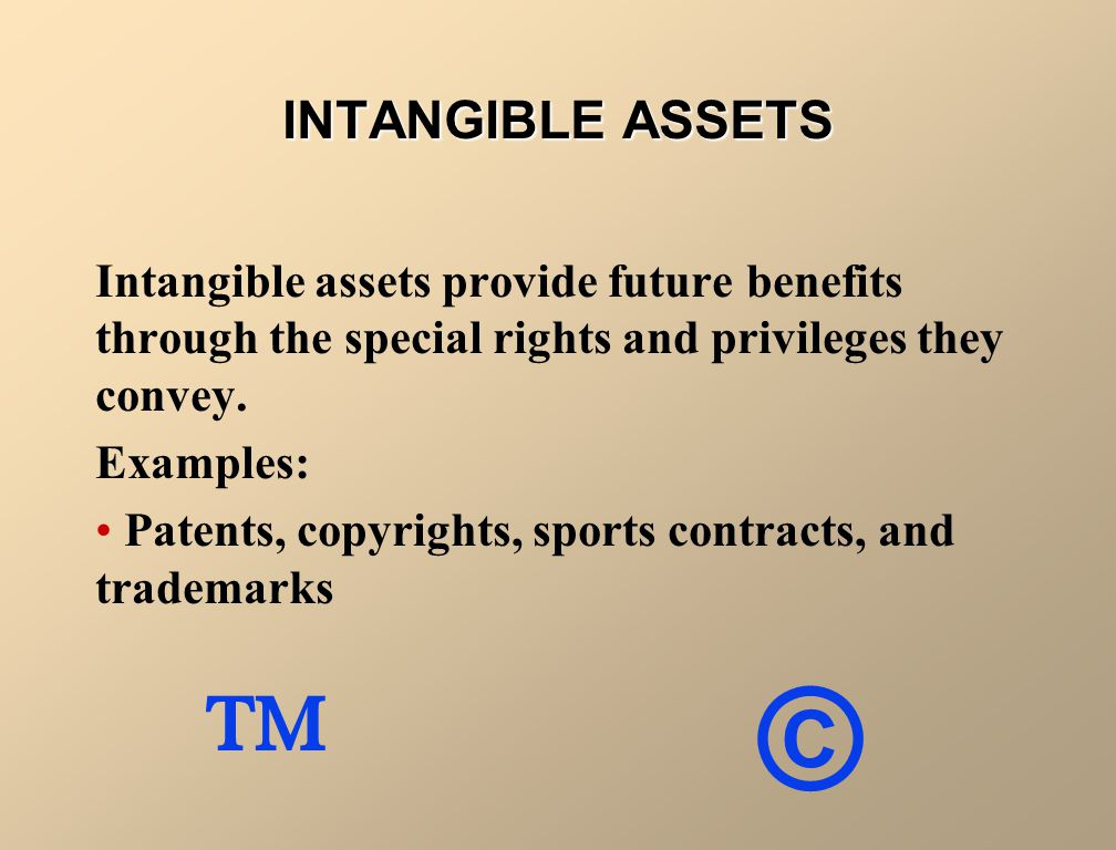 INTANGIBLE ASSETS Intangible assets provide future benefits through the special rights and privileges they convey.