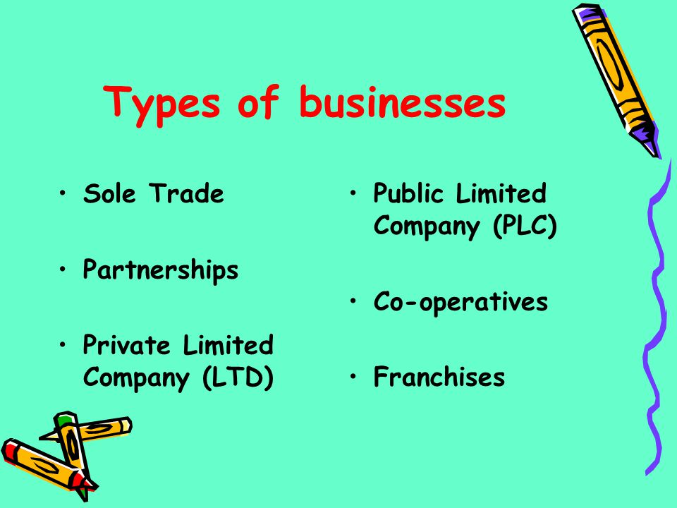 Types of businesses Sole Trade Partnerships