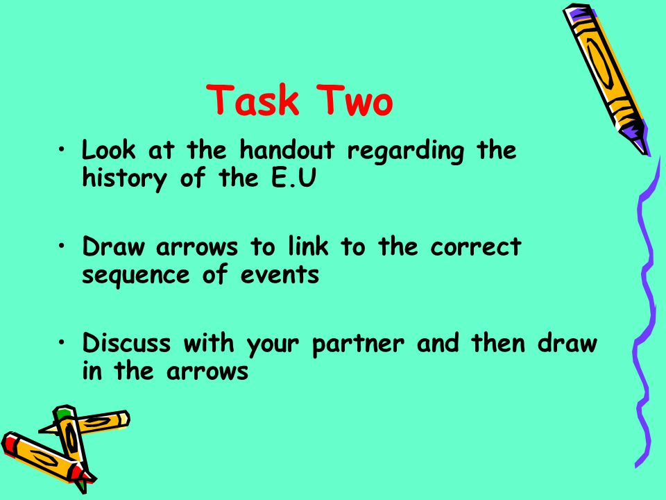 Task Two Look at the handout regarding the history of the E.U