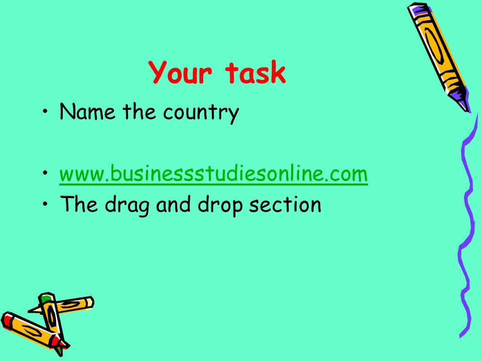 Your task Name the country www.businessstudiesonline.com