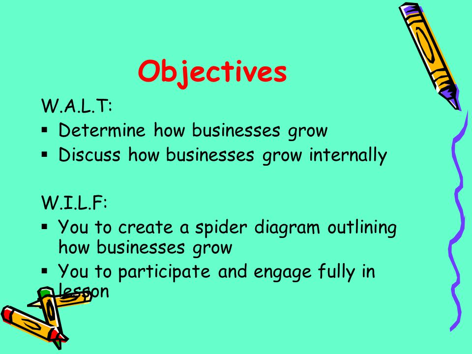 Objectives W.A.L.T: Determine how businesses grow