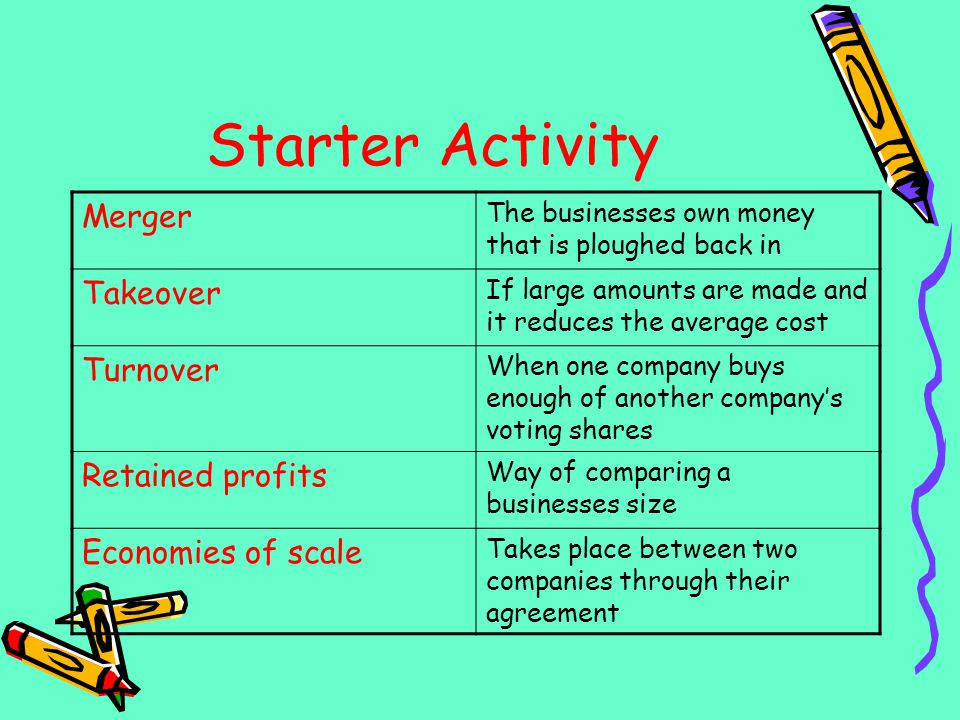 Starter Activity Merger Takeover Turnover Retained profits