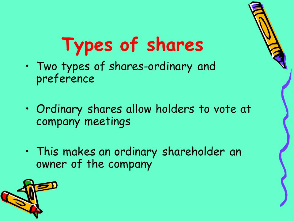 Types of shares Two types of shares-ordinary and preference
